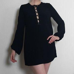 Dresses & Skirts - Maddy K Long Sleeve Lace Up Mini Dress